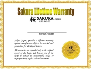 Sakura Chef Knife Warranty Information